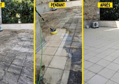Nettoyage de terasse réalisé au printemps sur Villeneuve d'Aveyron